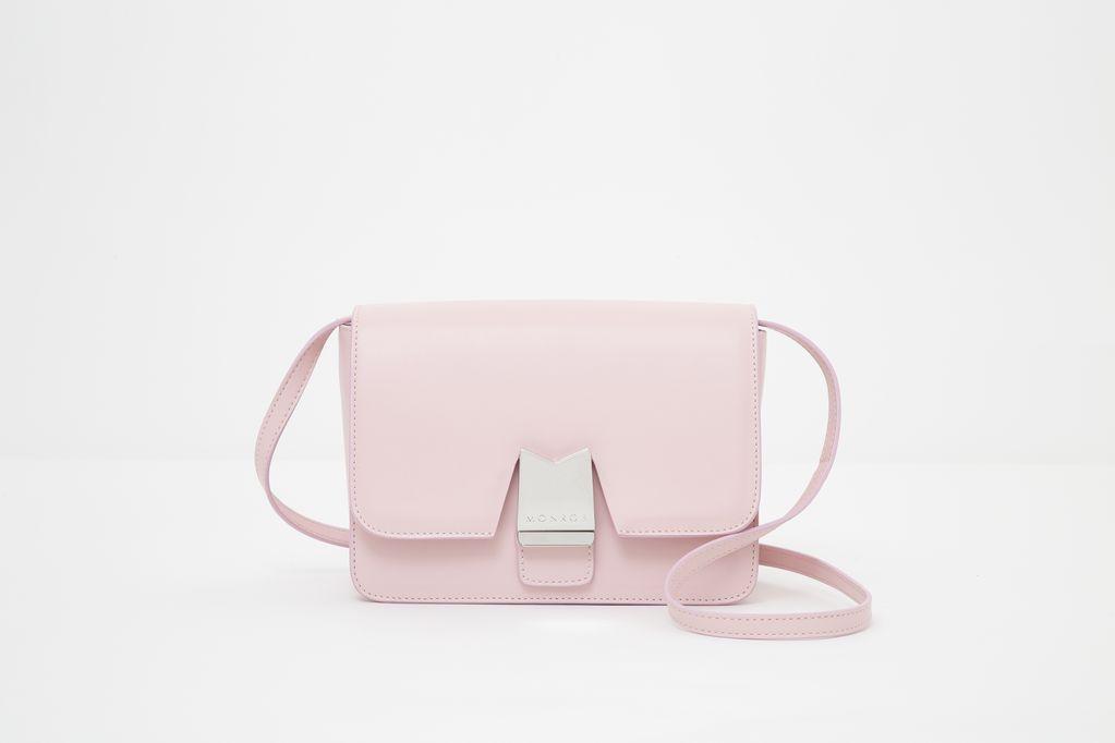Borsa a spalla in pelle Monrob Olivia colore rosa frontale