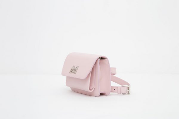 Borsa a spalla in pelle Monrob Nico rosa lato