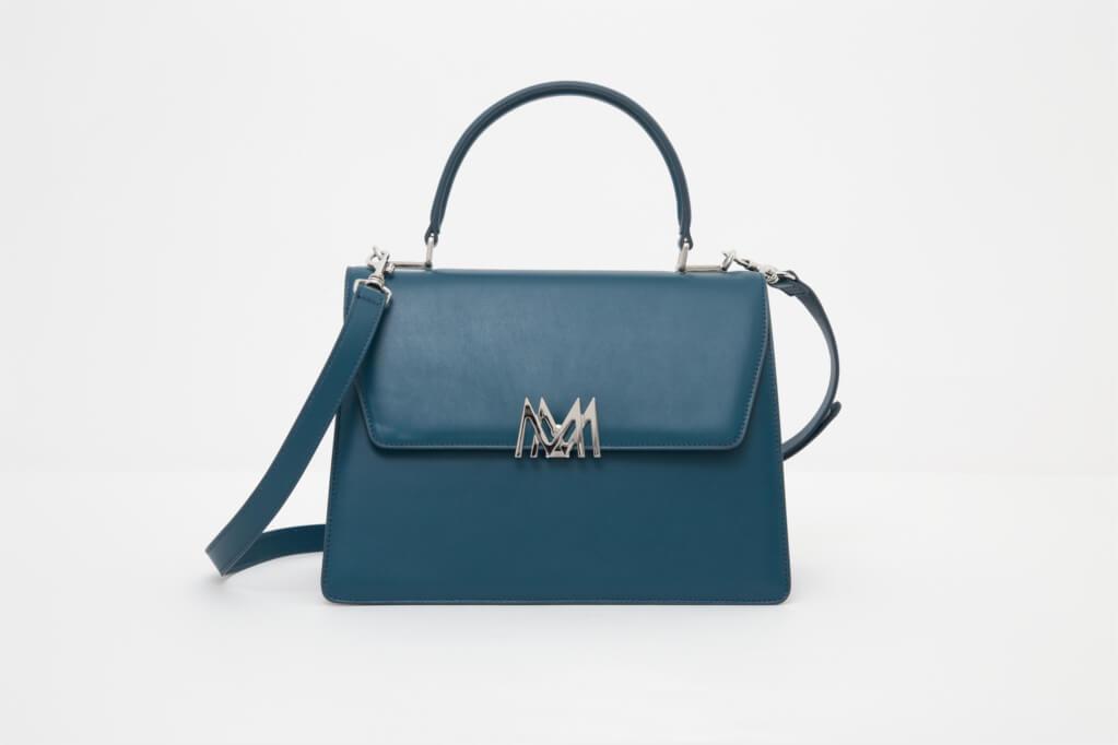 borsa blu da donna in pelle made in italy foto frontale