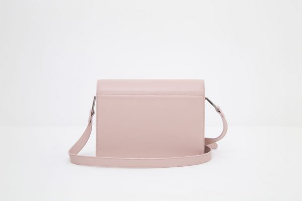 Borsa a spalla in pelle Monrob Cristina rosa e bianca retro