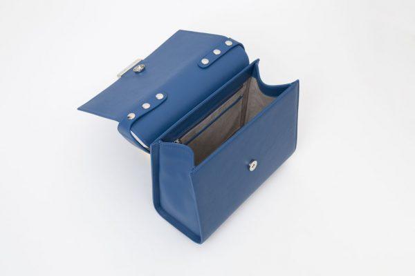 Borsa a mano in pelle Monrob Cristina colore blu elettrico aperta