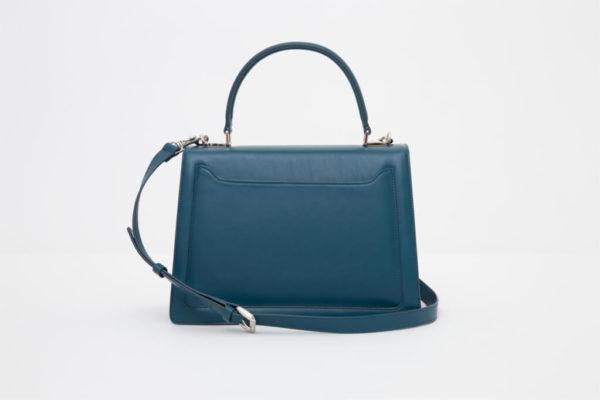 borsa blu da donna in pelle made in italy foto posteriore
