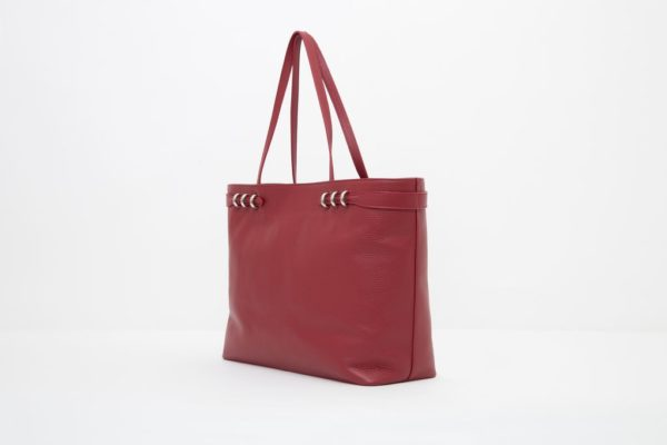 Borsa shopping linea Ludovica color rosso M7101 laterale