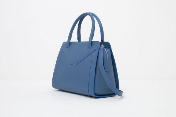 Borsa in pelle Monrob Olivia blu lato