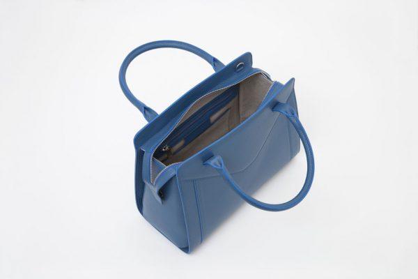 Borsa in pelle Monrob Olivia blu aperta
