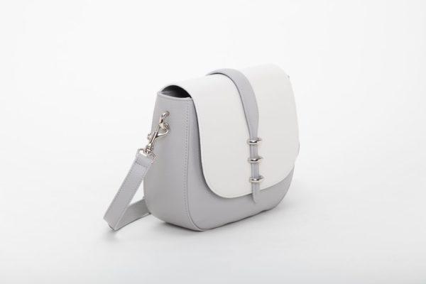 borsa da donna bianca con fodera misto cotone con finitura camoscio foto laterale