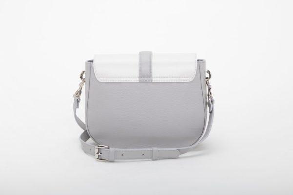 borsa da donna bianca con fodera misto cotone con finitura camoscio foto posteriore