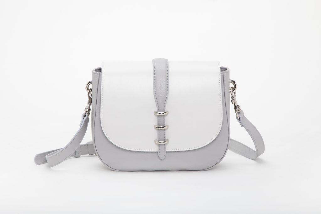 borsa da donna bianca con fodera misto cotone con finitura camoscio foto frontale